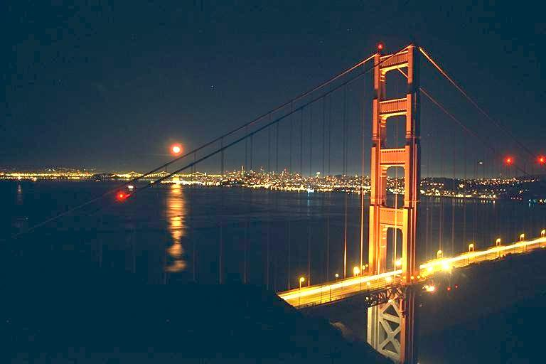 golden gate bridge at night. Golden Gate Bridge at night.